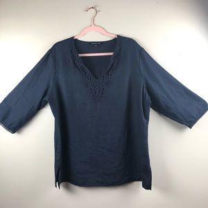 Jones New York 100% linen Tunic shirt XL navy blue
